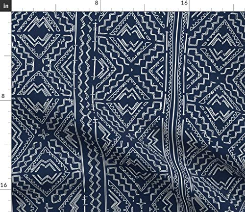 Spoonflower Navy mudcloth Fabric - Mudcloth Mud Cloth African Mudcloth Tribal Indigo Indigo and White Indigo Mudcloth Jennifer by Jenlats Printed on Basic Cotton Ultra Fabric by The Yard