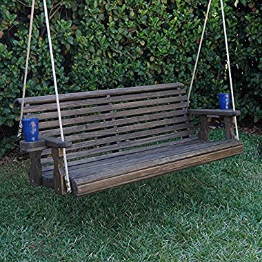 Amish Heavy Duty 800 Lb Roll Back Treated Porch Swing With Hanging Ropes And Cupholders (4 Foot, Dark Walnut Stain)