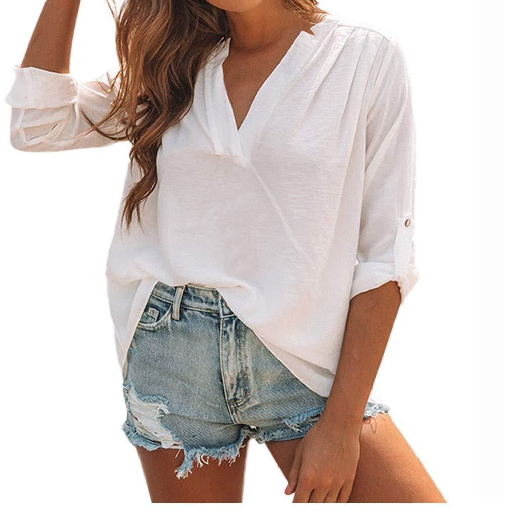 Women Cotton Linen Shirt Casual Solid Long Sleeve V-Neck Ruched Split Blouse Top iQKA-Women-0824