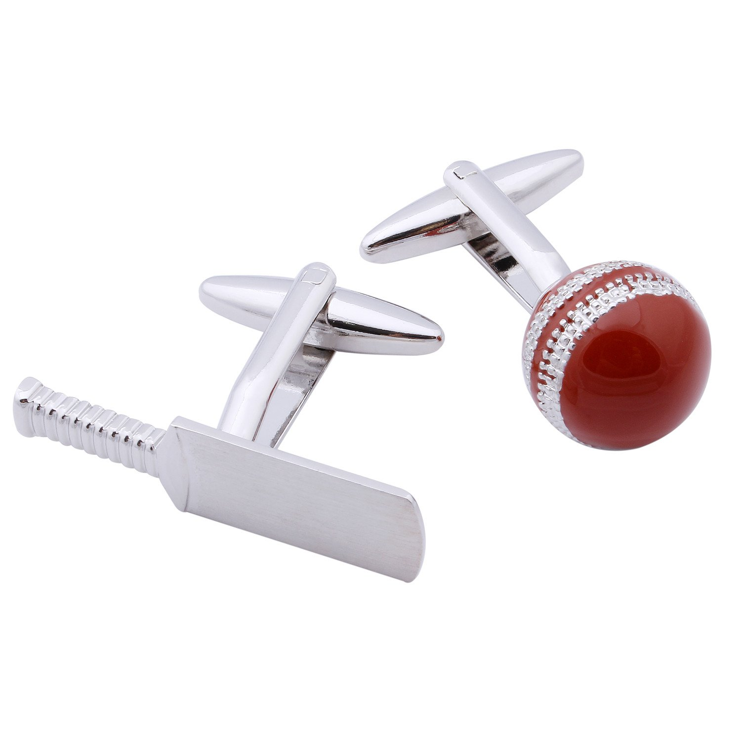 HAWSON Sport Cuff Links Red Cricket Ball And Bat Nevelty Mens Accessories 90056