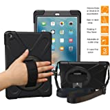 BRAECNstock New iPad 2018/ 2017 Case(5th Generation)Three Layer Heavy Duty Soft Silicone Hard Bumper Case Built-in Kickstand Shockproof Durable Rugged Case for New iPad 9.7 Inch 2018/ 2017(Black)