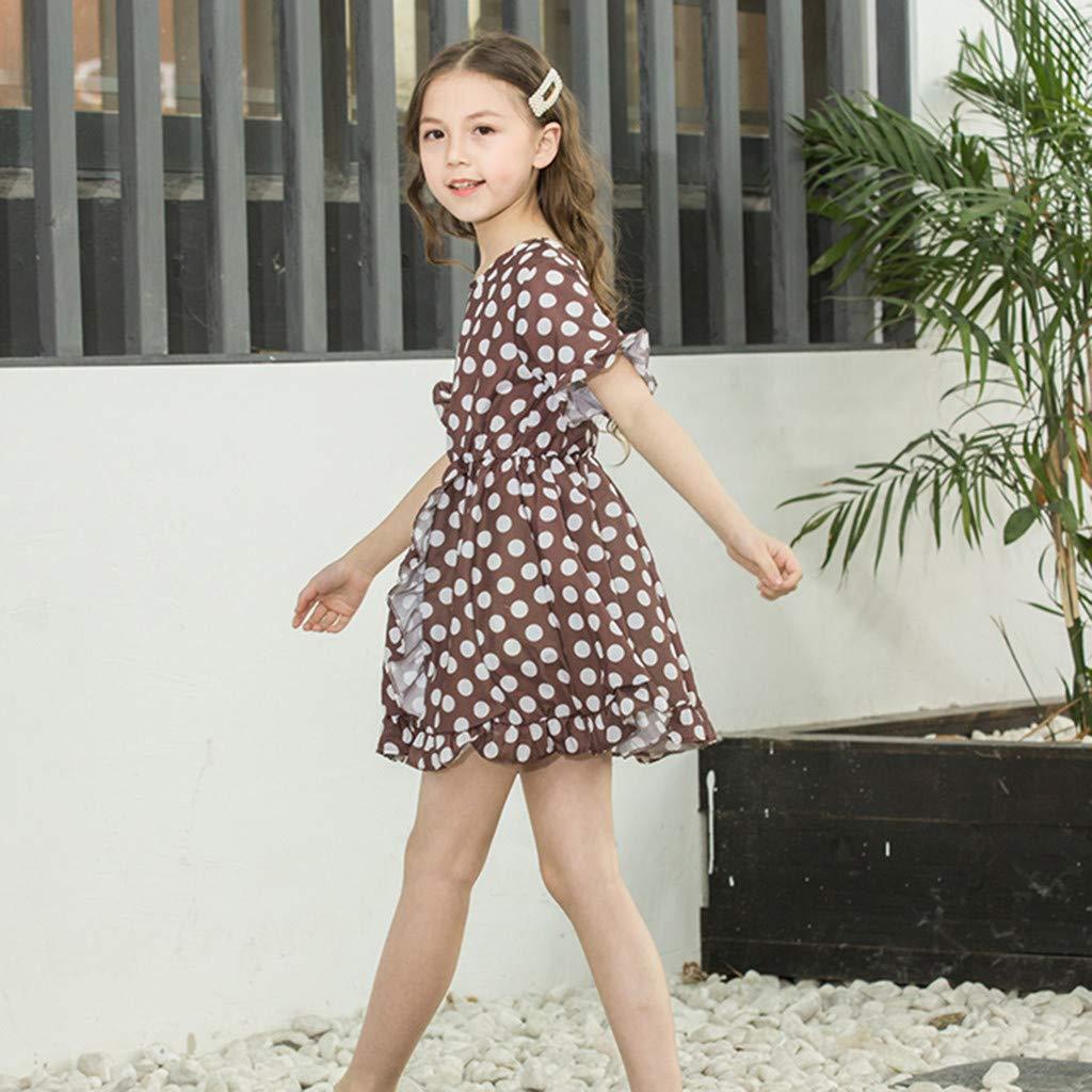 ZYUEER Kinderkleidung Kinder /ärmelloses Sling Farbe Gestreift Gewellt Kleid Prinzessin Prinzessin Rock