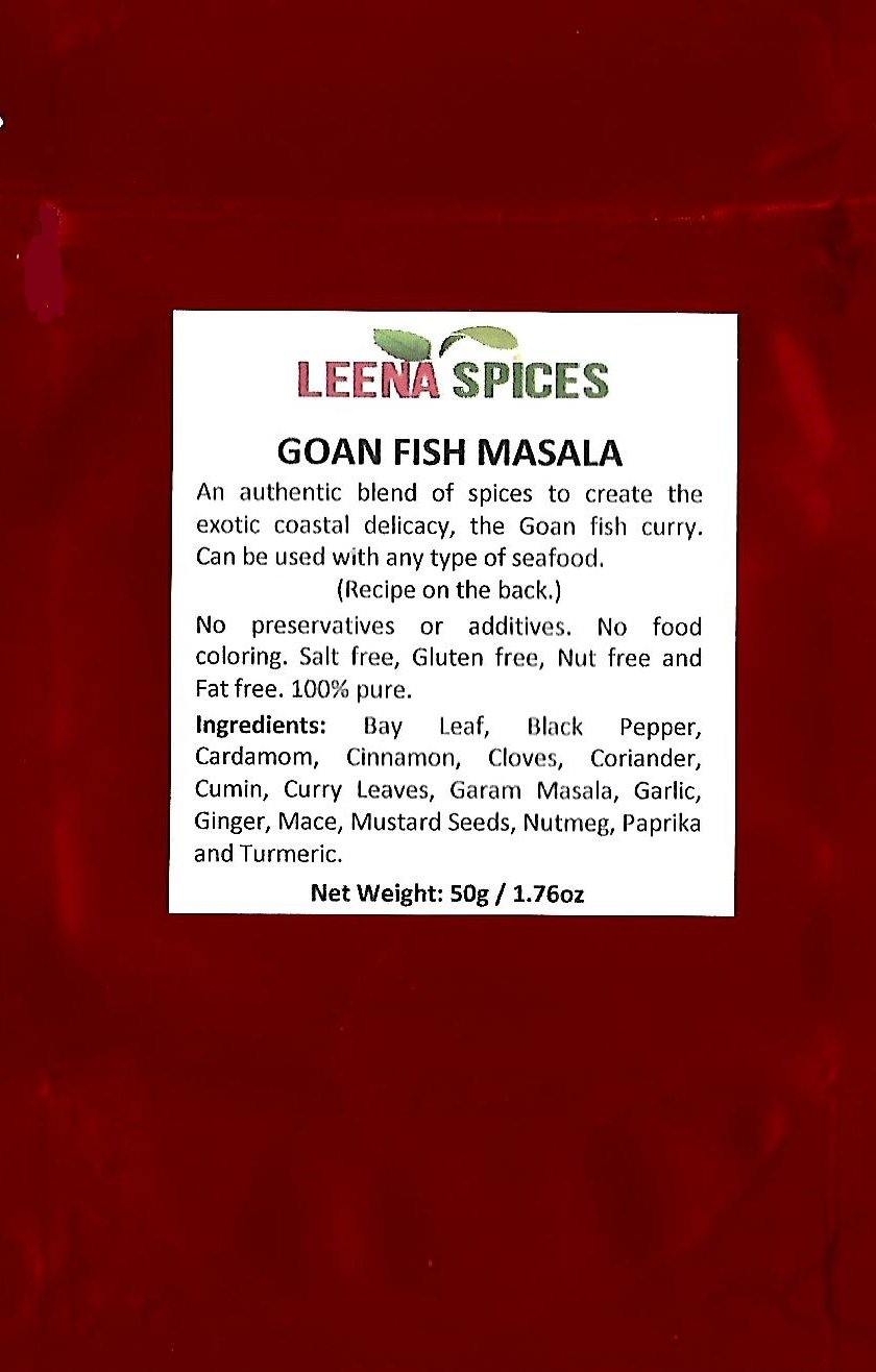 LEENA SPICES – Goan curry spices – Gluten Free Food Masala Powder – No Salt Or Color - Enjoy Yummy Fish Recipe From Our Cookbook .