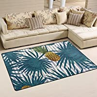 DEYYA Home Contemporary Hawaiian Tropical Pineapple Fruit Area Rugs 325 x 5, Modern Non-Slip Doormats Carpet for Living Dining Room Bedroom Hallway Office Easy Clean Footcloth