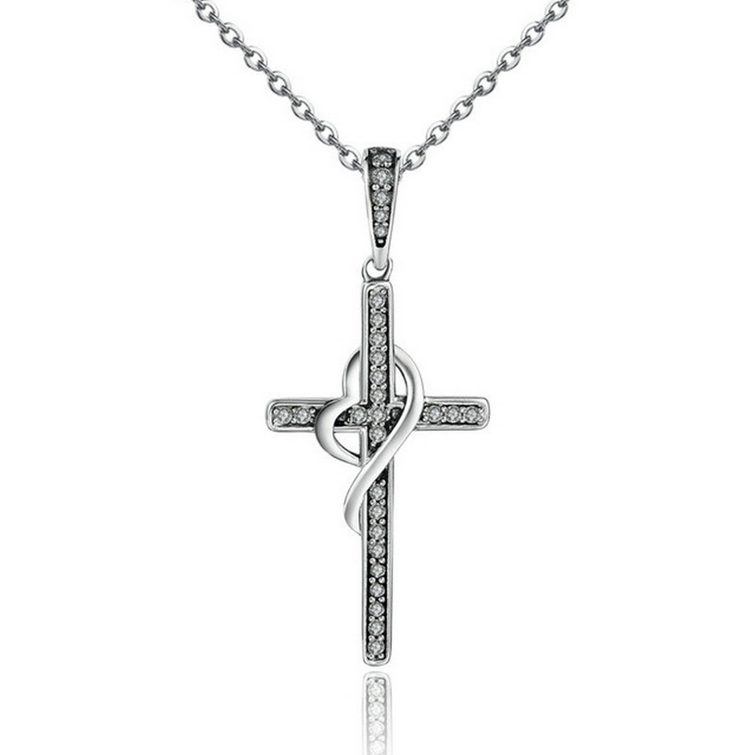 CS-DB Jewelry Silver Cross Twisting with Heart Chain Charm Pendants Necklaces
