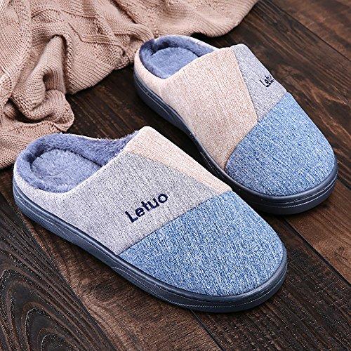 Chaud Pantoufles Unisexe Doux Chaussures SK Tricot Maison Studio Chaussons Slippers Intérieur Bleu Hiver qwS6gtIcp