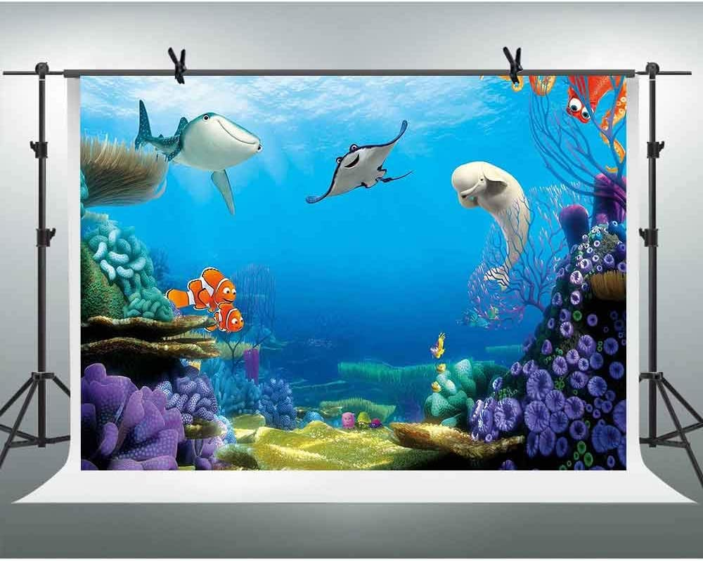 FHZON 10x7ft Cartoon Undersea World Backdrop orpical Fishes Colorful Coral Reef Turtles Dolphin Photography Background Ray Summer Holiday Children Birthday Party Photo Studio LSFH1333