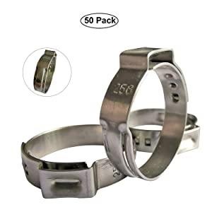 "WYKA 50 Pack 304 Stainless Steel Single Ear Hose Clamp,Crimp Pinch Fitting,Fuel Line Hose Clips Water Pipe Air Tube Silicone Vacuum Hose Clamp Fastener (41/64""-3/4""(16-19.2mm))"