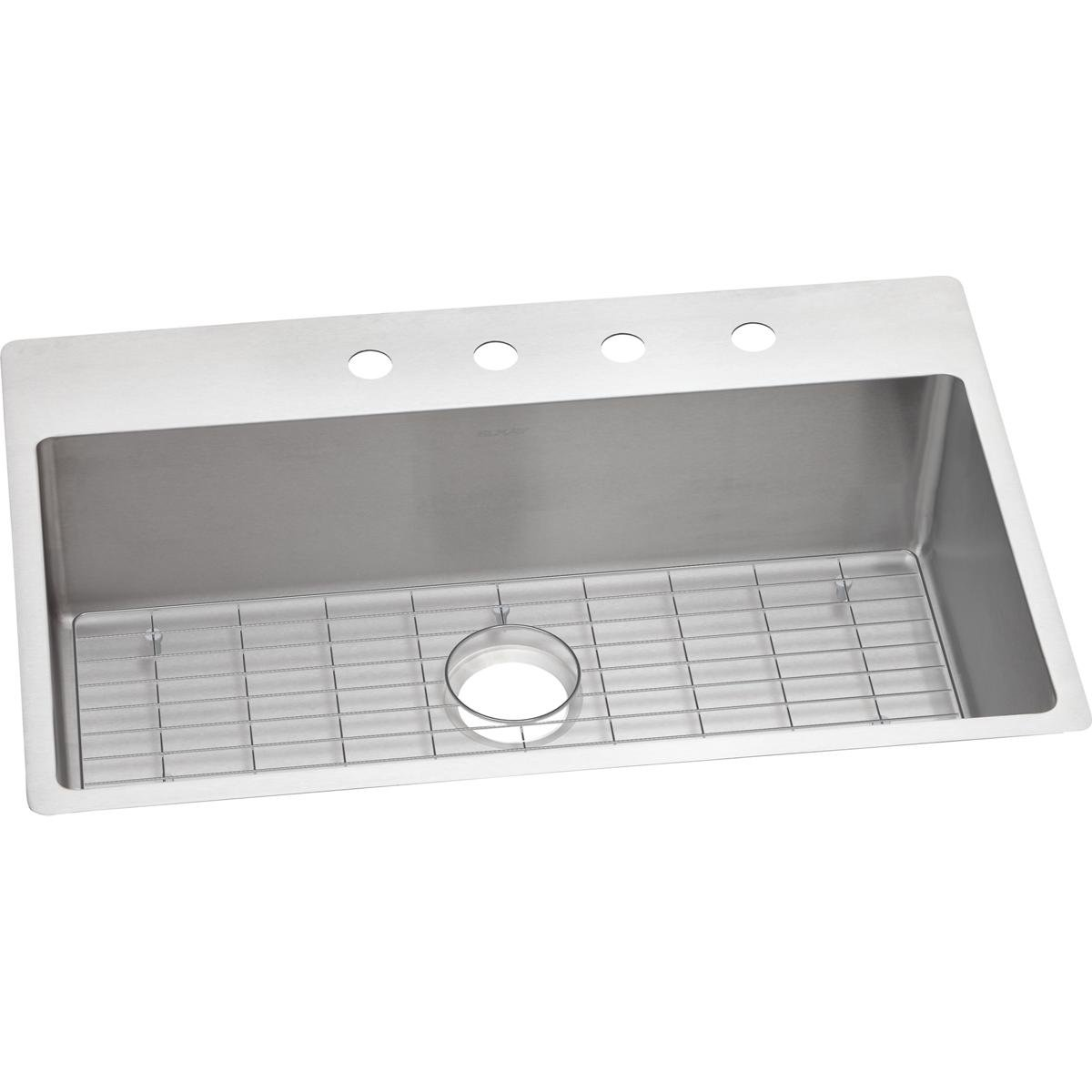 Elkay Crosstown Ectsrs33229tbg1 Single Bowl Dual Mount Stainless Counter Model Requires Plumbing And Electrical Work Under Your Sink Steel Kitchen Kit