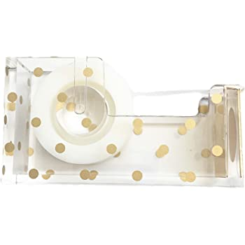 Acrylic Tape Dispenser | Gold Polka Dot - Chic, Modern Desk and Office Supplies (Tape Dispenser)