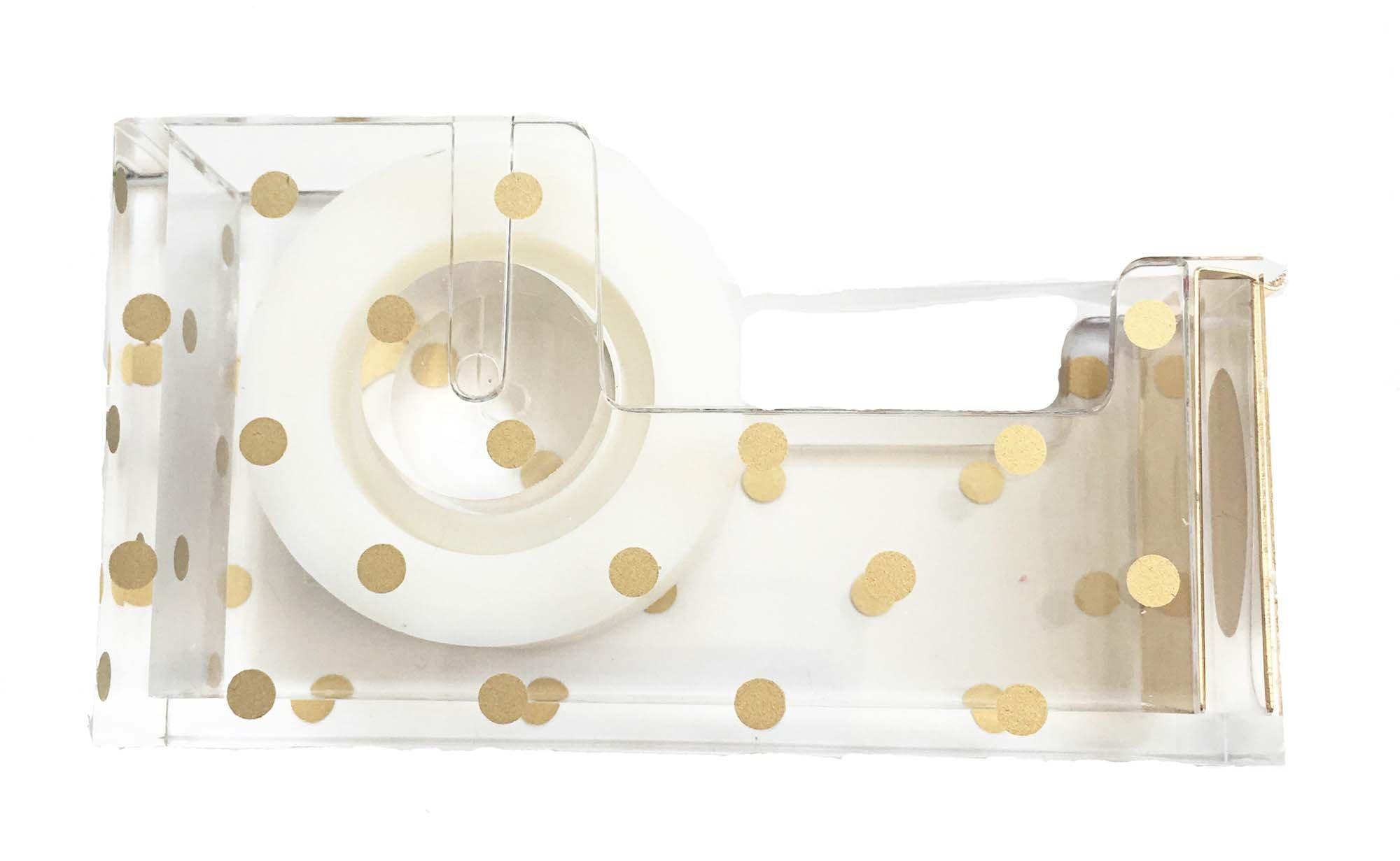 Acrylic Tape Dispenser   Gold Polka Dot - Chic, Modern Desk and Office Supplies (Tape Dispenser)
