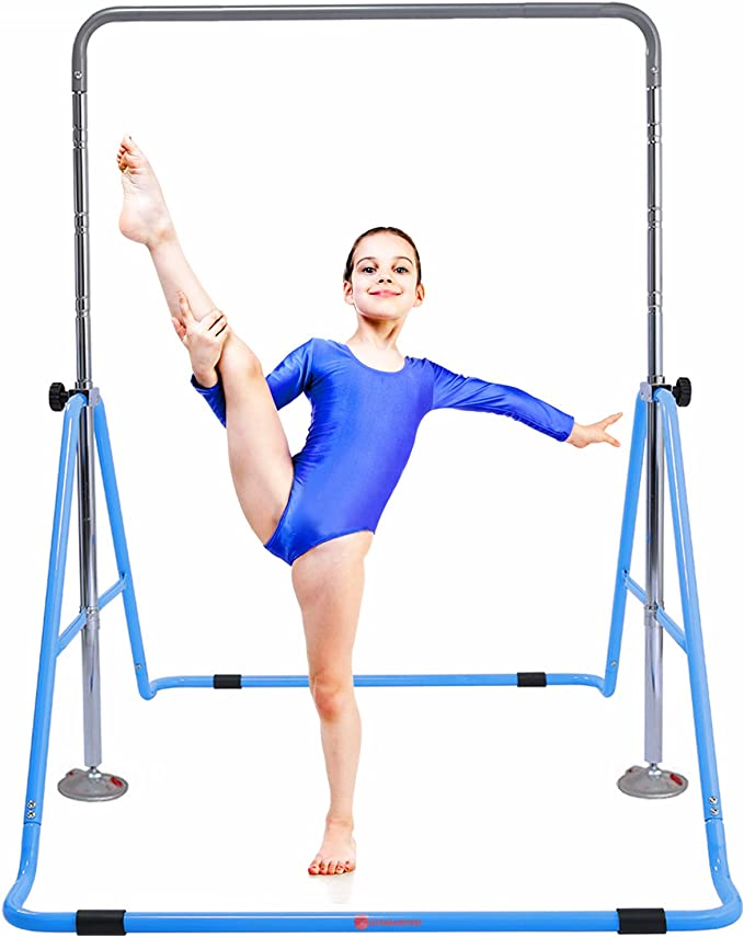 Folding Gymnastic Horizontal Bars Training Bar Adjustable Height Monkey Climbing Tower Home Training for Kids YEEGO DIRECT Expandable Gymnastics Bars