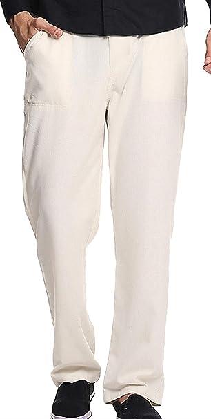 BIRAN Pantalones De Lino De Hombre Pantalones De Pantalón ...