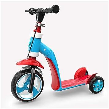 Scooter Puede Andar en una Moto Multiusos para niños pequeños de Tres Ruedas FANJIANI (Color