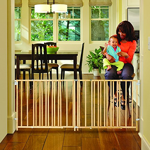 ''Extra-Wide Swing Gate'' by North States: Great for extra-wide openings, with no threshold and one-hand operation. Hardware mount. Fits openings 60'' to 103'' wide (27'' tall, Natural wood) by North States (Image #3)'