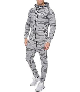 1cd46f10c89d1 MonsieurMode - Ensemble Jogging Camouflage Survêt Camo V715 Gris - Gris