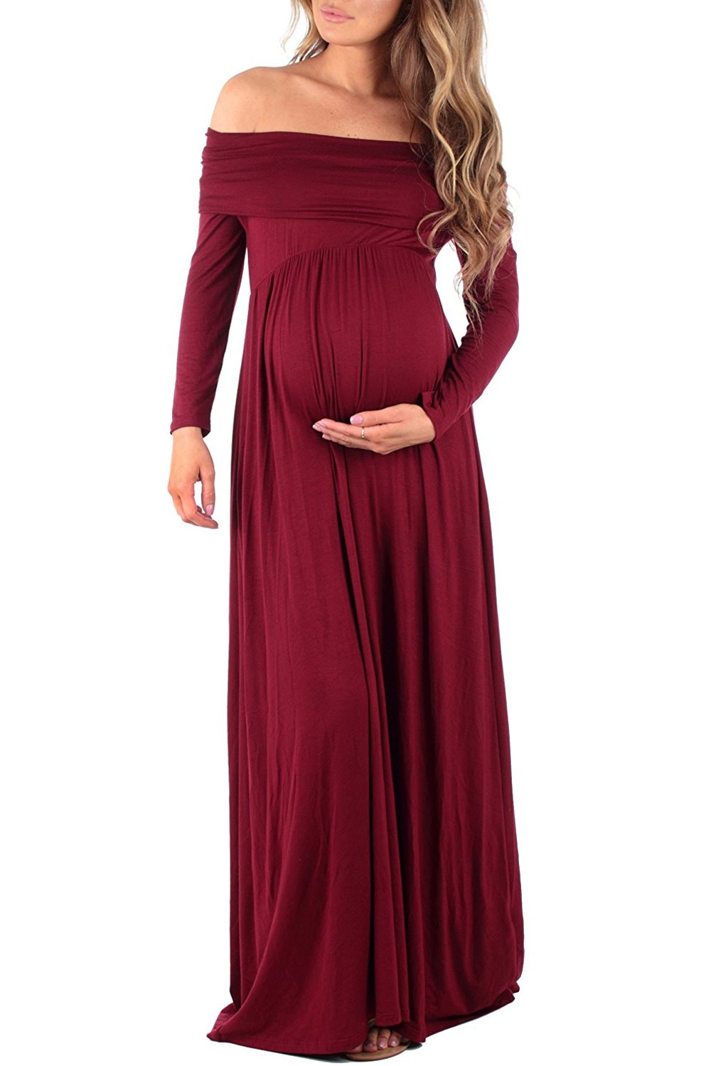 MANNEW Maternity Dress Over Shoulder Maxi Dress Casual Wrap Pregnancy Long Sleeve Gowns (Burgundy, Small)