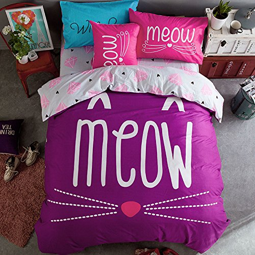 WarmGo Bedding Set for Adult Girl Boy Meow 4 Piece Duvet Cover Set 100% Cotton ,1 PC Duvet Cover,1 PC Flat Sheet,2 PC Pillowcase,Full Queen Size by WarmGo