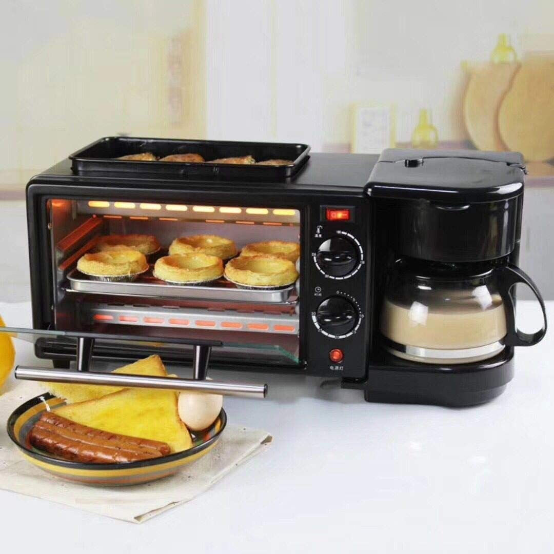 LQRYJDZ Breakfast Machine,3-in-1 Family Size Breakfast Station, Toaster Oven Multifunction Breakfast Center, Toaster Oven, Griddle and Coffee Make,9 liters (Color : Black) by LQRYJDZ