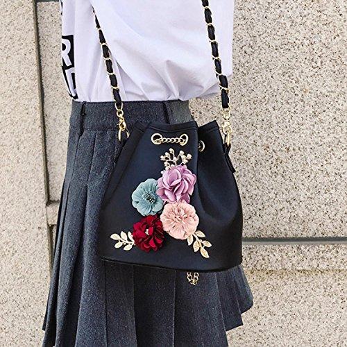 Con Messager Bolsa Bordado La Flores Mini Mujeres Cuero La Cordón Hombro De Meliya Flor Negro De Balde Cruzada De Moda De Con Bolsa Cuerpo Bolsa Cadena Bolso De Sintético zO1a6