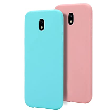 2 X Galaxy J7 2017 Funda , Carcasa para Samsung J7 2017 de Moevn , Case Cover TPU Suave Silicona , Slim Anti Skid Anti Rasguño Color Gel Funda para ...