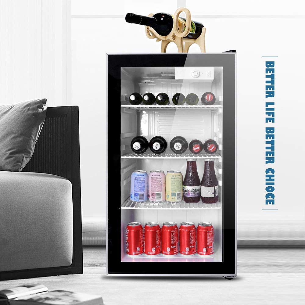 Northair Beverage Refrigerator and Cooler Under Counter - 28 Bottle Freestanding Wine Chiller Fridge, with Glass Door and Adjustable Display Shelf for Red/White Wine, Beer and Champagne Wine by Northair
