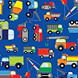 Blue Construction Trucks Jillson and Roberts Gift Wrap Paper - 15 Foot Roll