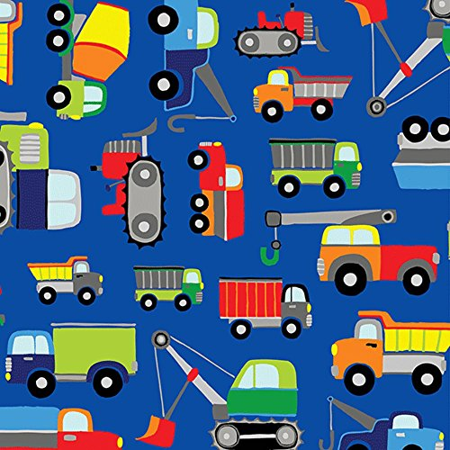 Blue Construction Trucks Jillson and Roberts Gift Wrap Paper - 15 Foot Roll by Buttons Bags and Bows