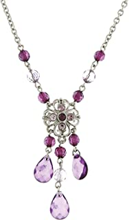 product image for 1928 Jewelry Silver-Tone Purple Chandelier Necklace 16 Inch Adjustable