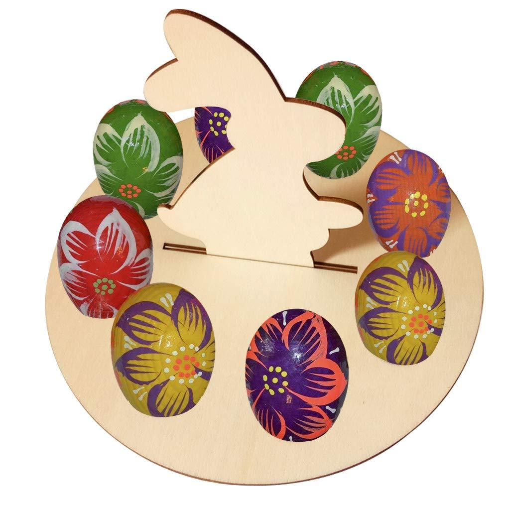 Kariwell Easter Egg Holder Tray, Wooden Creative Easter Egg Shelves for Kids Bunny Pattern Carry Hold Eggs Decor for Home Party