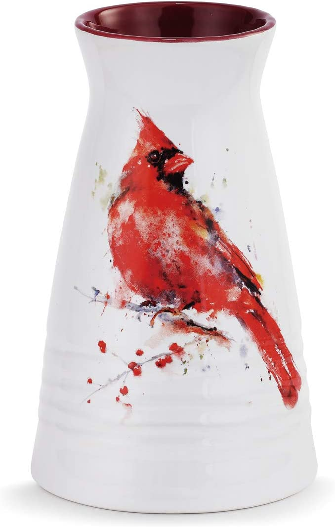 DEMDACO Dean Crouser Redhead Cardinal Bird Watercolor Red 7 x 5 Glossy Ceramic Stoneware Vase