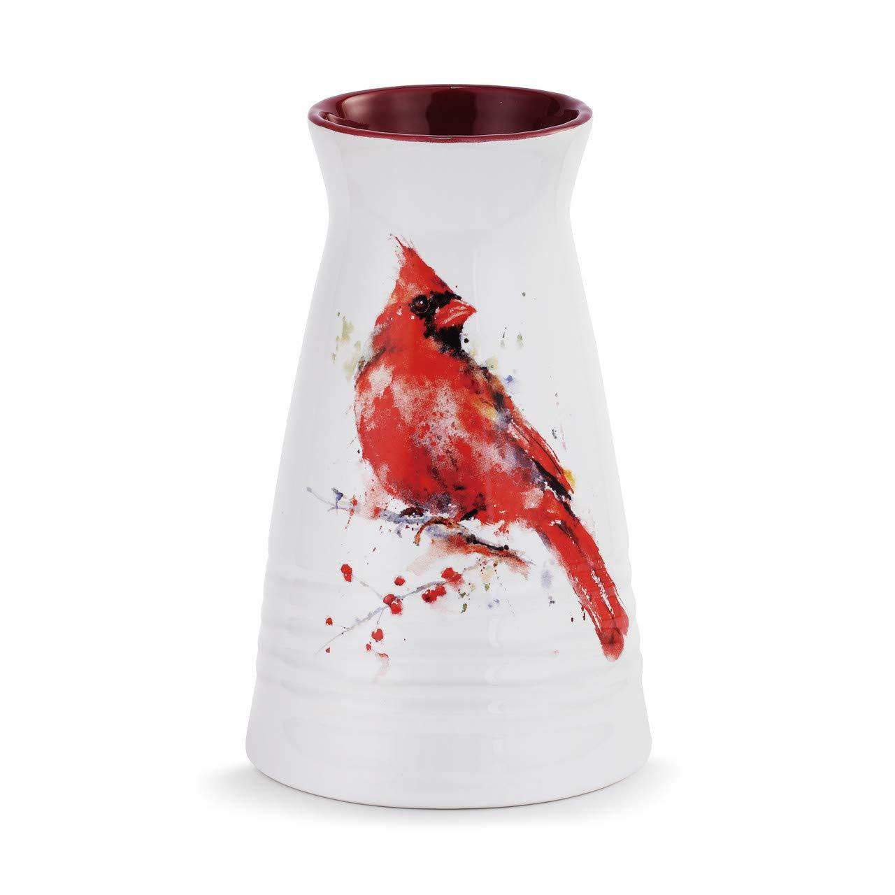 Demdaco Dean Crouser Redhead Cardinal Bird Watercolor Red 7 x 5 Glossy Ceramic Stoneware Vase
