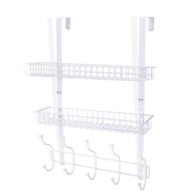 Coat Rack, MILIJIA Over The Door Hanger with Mesh Basket, Detachable Storage Shelf for Towels, Hats, Handbags, Coats (White-2 Layer) by MILIJIA