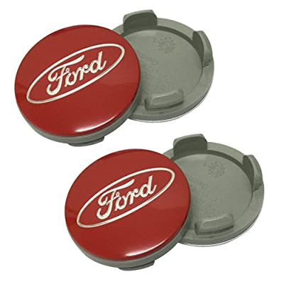 Cempaka 4pcs Red Color 55mm Wheel Hub Caps Centre Cover Fit for Ford Car Model: Automotive
