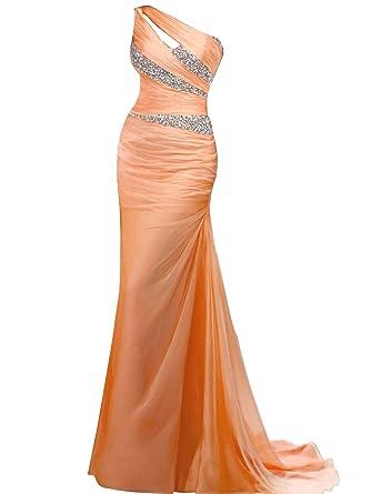 VILAVI Womens Mermaid One Shoulder Long Chiffon Beading Prom Dresses 40 Orange