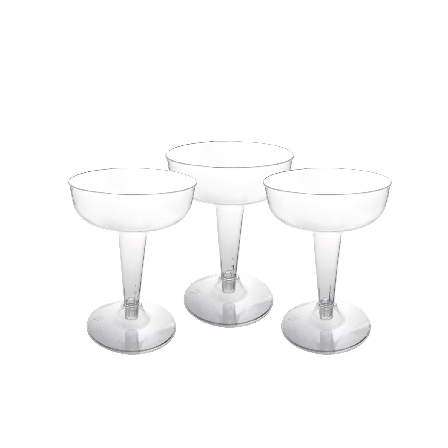 Party Essentials Hard Plastic Two Piece 4-Ounce Champagne Glasses, Clear, 50 Count