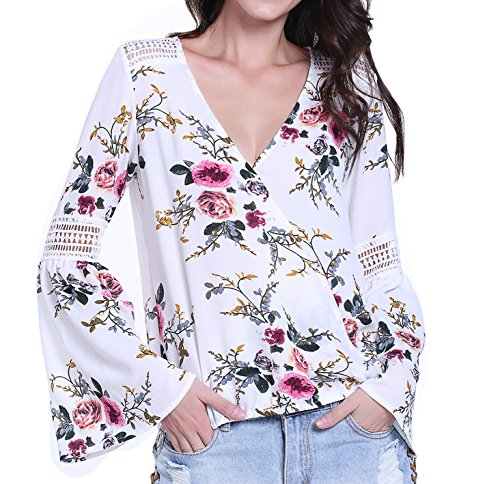 MISS MOLY Women's Floral Printed Crossover V Neck Trumpet Sleeves Lace Splice Tee Shirt - Crossover Printed