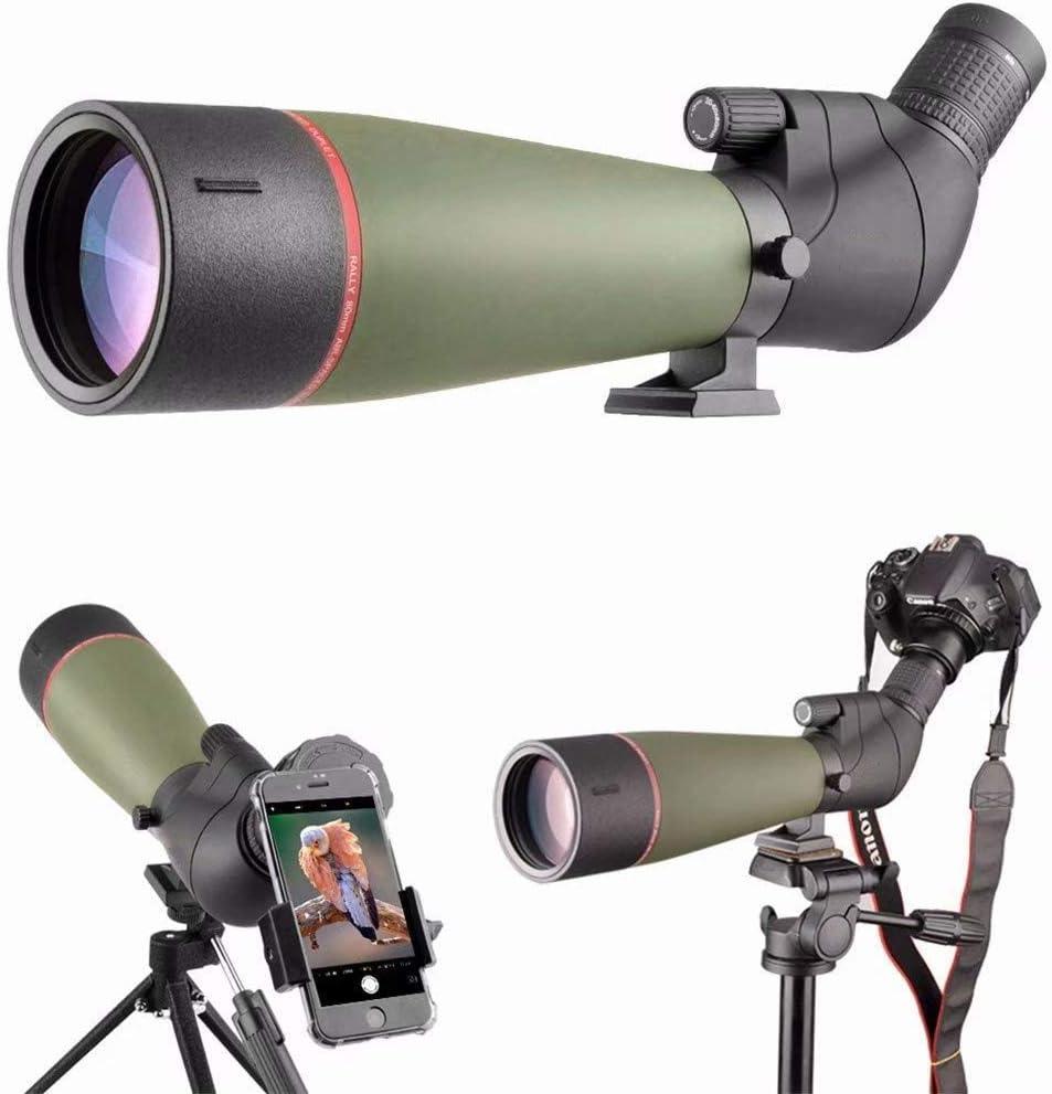 20-60x80単眼望遠鏡、防水ハイパワープリズム単眼鏡スコープ、狩猟キャンプハイキング旅行観光のための三脚付き