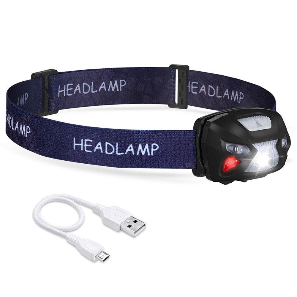 Vory LED-Gehäuse Bewegungsmelder Stirnlampen aufladbare Stirnlampen USB 5W 6 Modi Stirnlampen ideal für Angeln Wandern Camping Lesen
