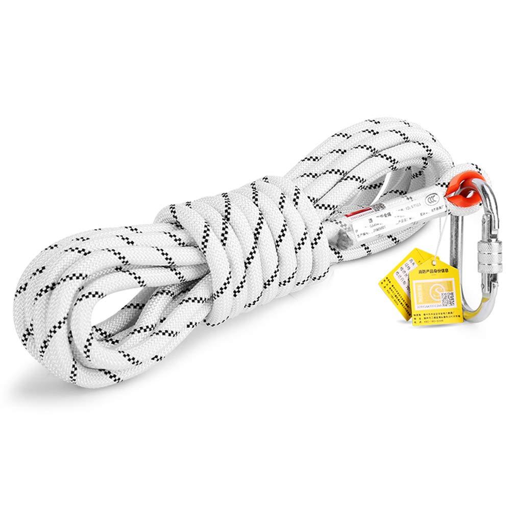 ロッククライミングラッペリングロープ、屋外ライトエスケープ火災地震安全ロープ、ホーム火災緊急スタンバイ-11 mm直径-ホワイト-白い-30m 白い 30m