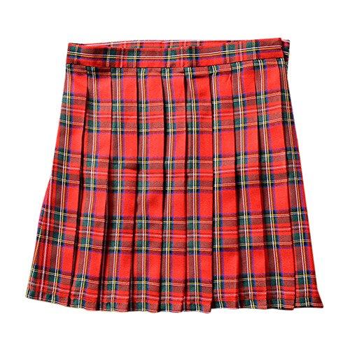 CHN'S Girls Women School Uniforms Dress Plaid Pleated Mini Skirt Bust Skirt School Plaid Dress