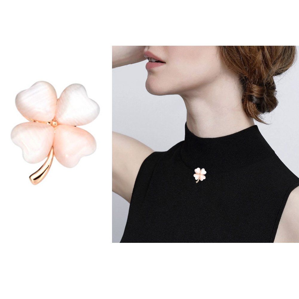 Joyci One Piece Elegant Women's Brooch Lucky Clover Pins Mini Opal Girl Fashion Brooch Cardigan Sweater Brooch Pins