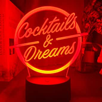 Office Table Accessories Led Night Light Sign Cocktails and Dreams Night Light for Bar Decoration Engraved Acrylic USB Desk Lamp