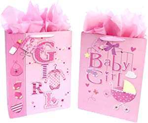 "16.5"" Extra Large Baby Shower Gift Bags (Glitter Pop-up Design Picture) with Tissue Papers/Handles and Tags for Baby Girl 2-Pack (Pink)"