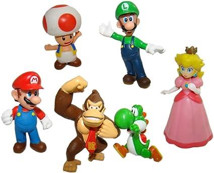 Amazon Com 6pcs Set Super Mario Bros Mario Luigi Princess Peach