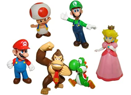 amazon com 6pcs set super mario bros mario luigi princess peach