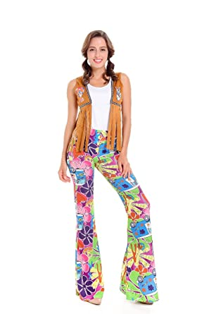 f5e5e3bd942 Amazon.com  JJ-GOGO 1960s Hippie Costume - Camel Women Hippie ...