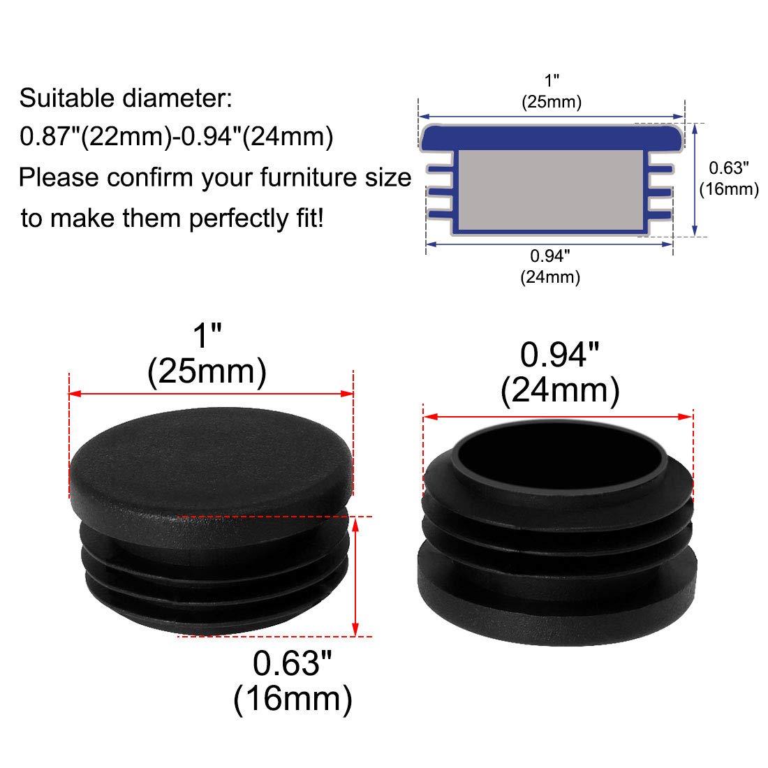 sourcing map Tap/ón De Pl/ástico Redondo Protector De Patas De Muebles Mesas Sillas De 25mm 1 Di/ámetro Exterior X 0.87-0.94 De Di/ámetro Exterior Tap/ón De Mesa