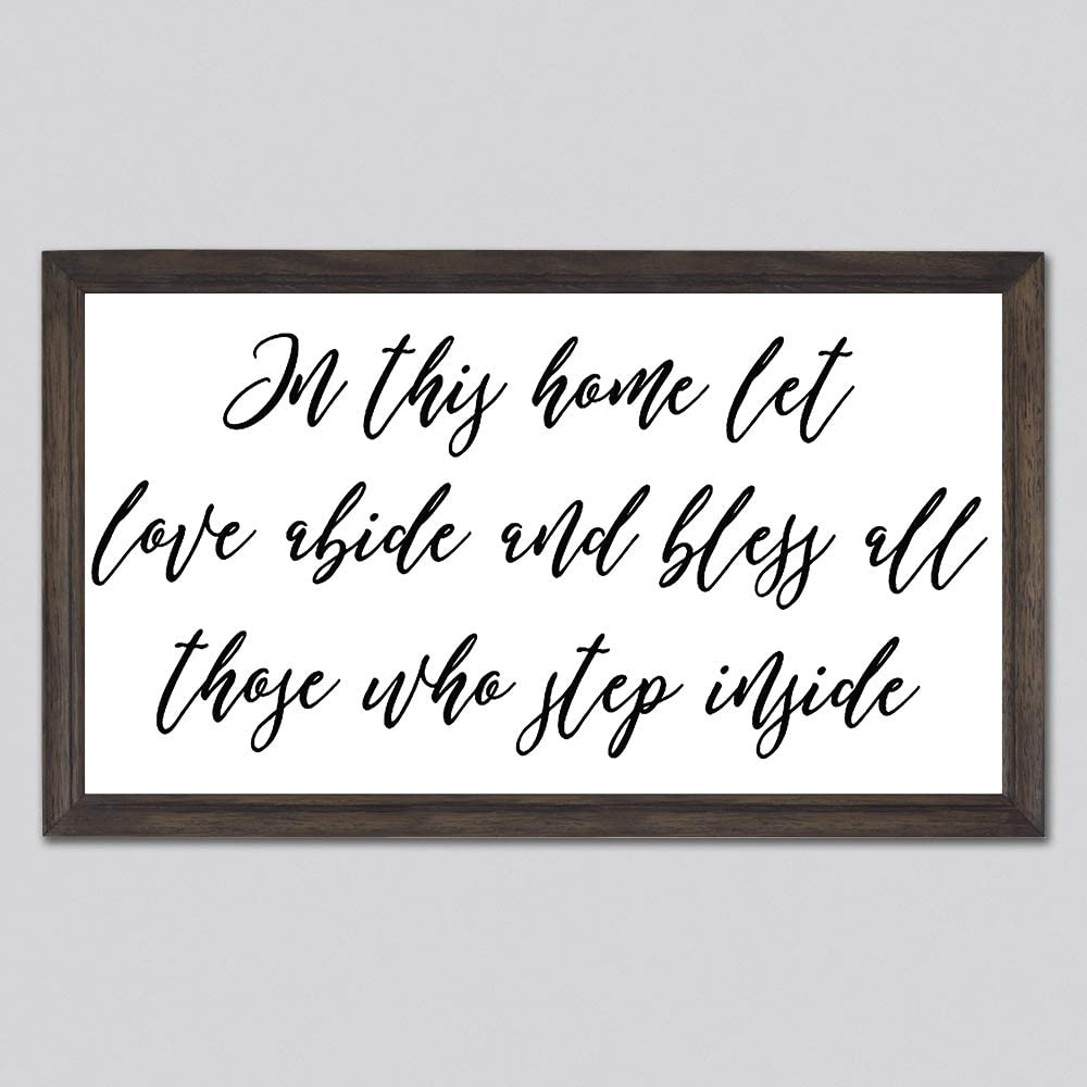 None Brand in This Home Let Love Abide Wood Sign, Decorative Home Wall Art, Framed Sign for Home Wedding Party Farmhouse, Personalized Housewarming Gift, 12x22