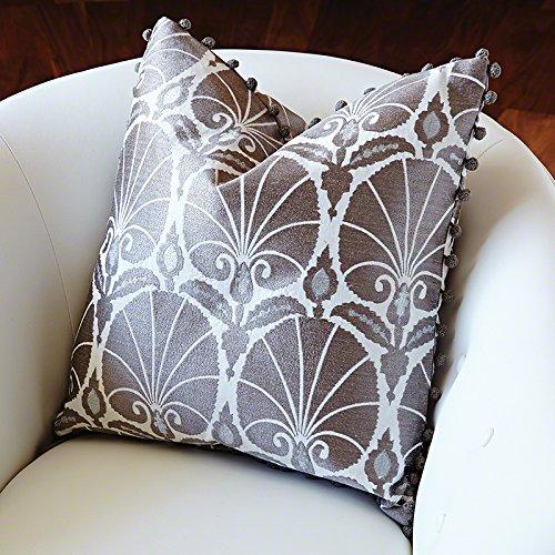 (Art Nouveau Modern Silver Fan Accent Pillow | Peacock Deco Retro White Square)